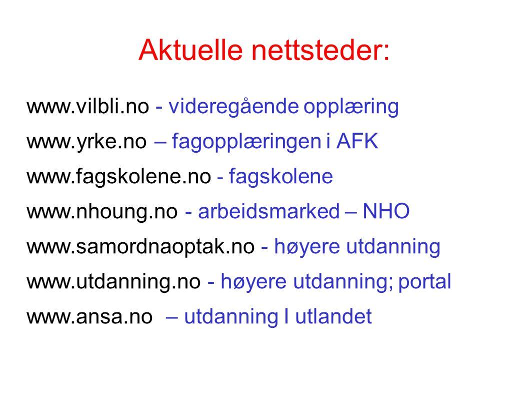 Aktuelle nettsteder: www.vilbli.no - videregående opplæring www.yrke.no – fagopplæringen i AFK www.fagskolene.no - fagskolene www.nhoung.no - arbeidsmarked – NHO www.samordnaoptak.no - høyere utdanning www.utdanning.no - høyere utdanning; portal www.ansa.no – utdanning I utlandet