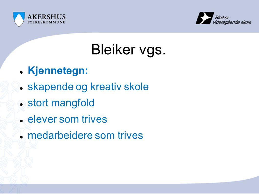Opplæringstilbudet på Bleiker  140 elever på Vg2 (ca.