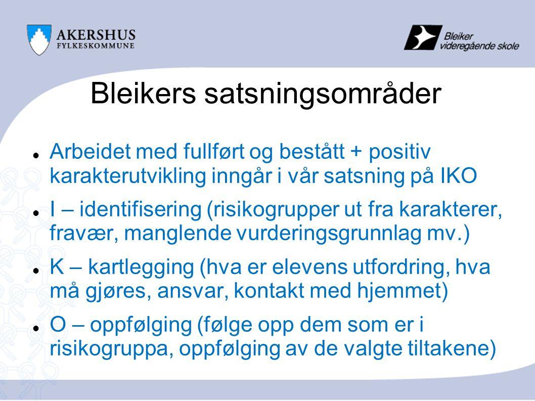 Bleikers satsningsområder  Vurdering:  Vurdering for læring viktig for læringsutbytte  Systematisk arbeid med tilbake-/ framovermeldinger  Varierte vurderingsformer  Egenvurdering og hverandrevurdering