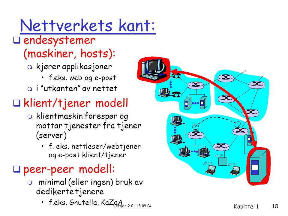 Versjon 2.0 / 15.09.04 Kapittel 1 10 Nettverkets kant:  endesystemer (maskiner, hosts): m kjører applikasjoner •f.eks.
