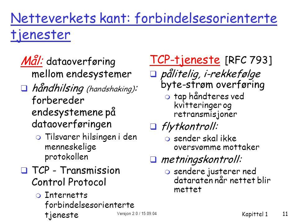 Versjon 2.0 / 15.09.04 Kapittel 1 11 Netteverkets kant: forbindelsesorienterte tjenester Mål: dataoverføring mellom endesystemer  håndhilsing (handsh