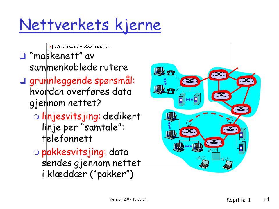 Versjon 2.0 / 15.09.04 Kapittel 1 14 Nettverkets kjerne  maskenett av sammenkoblede rutere  grunnleggende spørsmål: hvordan overføres data gjennom nettet.