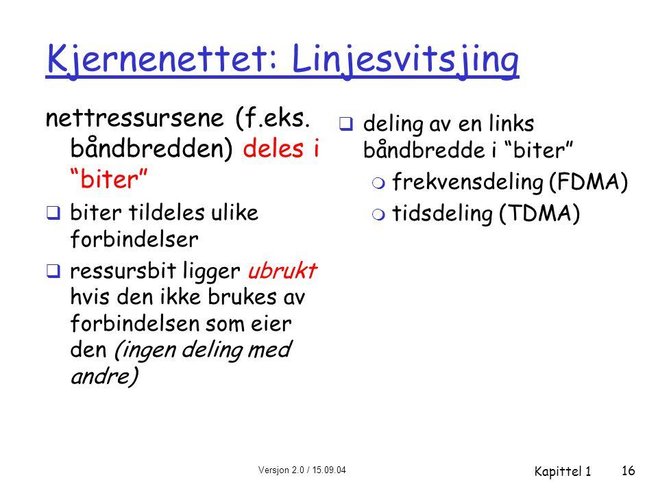 """Versjon 2.0 / 15.09.04 Kapittel 1 16 Kjernenettet: Linjesvitsjing nettressursene (f.eks. båndbredden) deles i """"biter""""  biter tildeles ulike forbindel"""