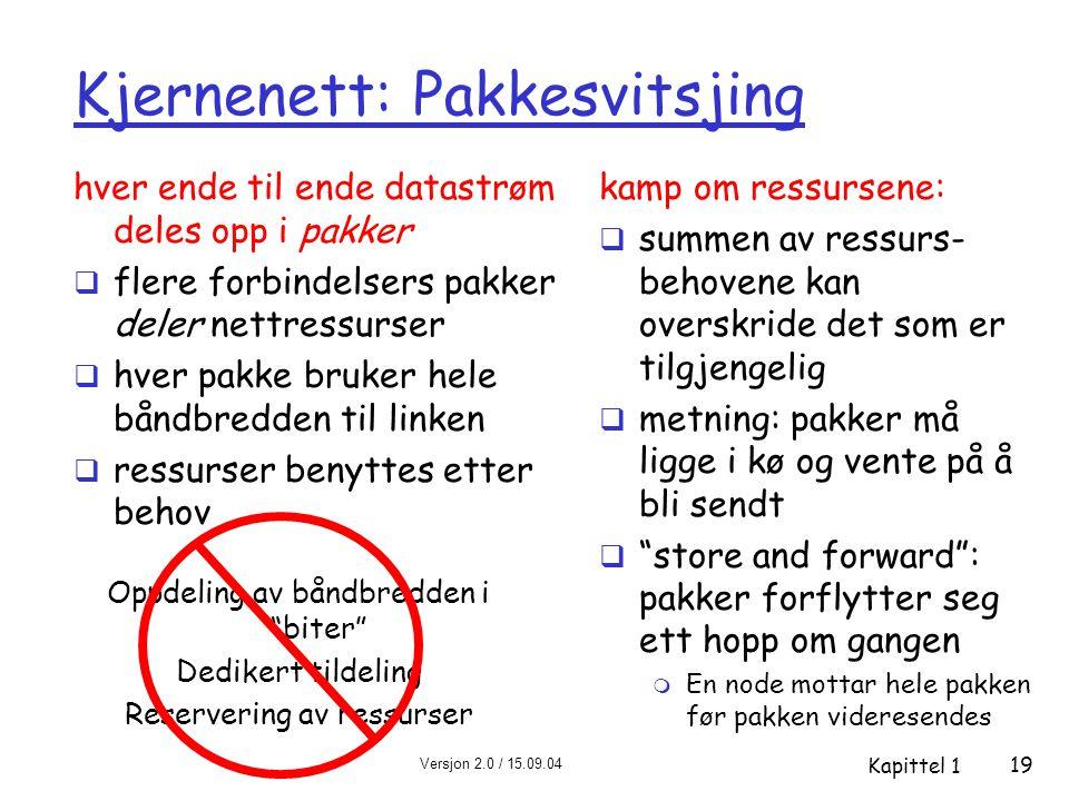 Versjon 2.0 / 15.09.04 Kapittel 1 19 Kjernenett: Pakkesvitsjing hver ende til ende datastrøm deles opp i pakker  flere forbindelsers pakker deler net