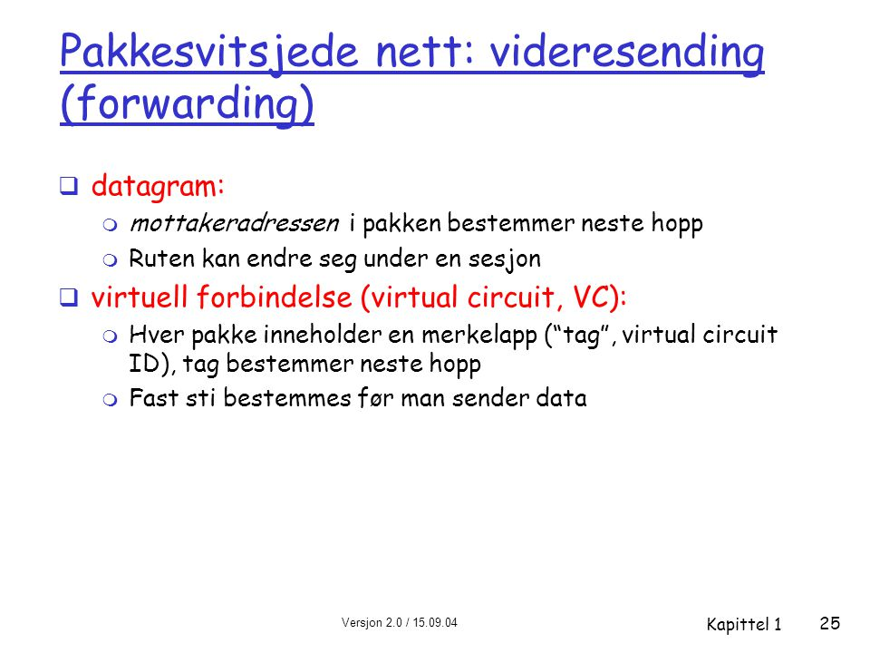 Versjon 2.0 / 15.09.04 Kapittel 1 25 Pakkesvitsjede nett: videresending (forwarding)  datagram: m mottakeradressen i pakken bestemmer neste hopp m Ruten kan endre seg under en sesjon  virtuell forbindelse (virtual circuit, VC): m Hver pakke inneholder en merkelapp ( tag , virtual circuit ID), tag bestemmer neste hopp m Fast sti bestemmes før man sender data