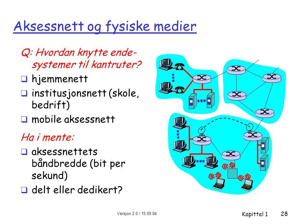 Versjon 2.0 / 15.09.04 Kapittel 1 28 Aksessnett og fysiske medier Q: Hvordan knytte ende- systemer til kantruter?  hjemmenett  institusjonsnett (sko