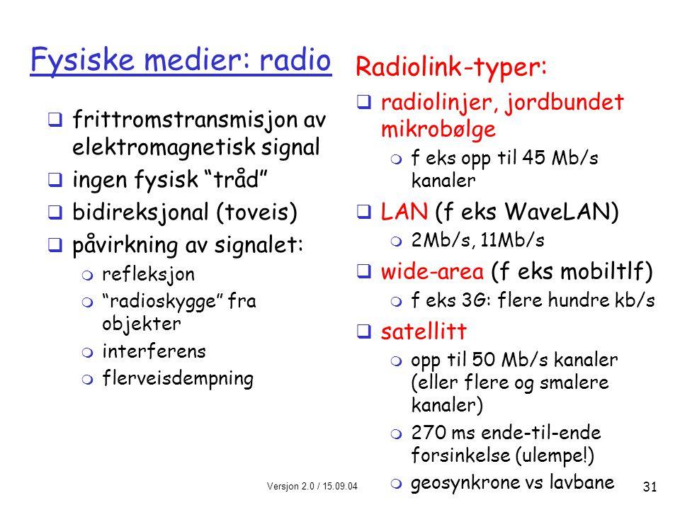 Versjon 2.0 / 15.09.04 Kapittel 1 31 Fysiske medier: radio  frittromstransmisjon av elektromagnetisk signal  ingen fysisk tråd  bidireksjonal (toveis)  påvirkning av signalet: m refleksjon m radioskygge fra objekter m interferens m flerveisdempning Radiolink-typer:  radiolinjer, jordbundet mikrobølge m f eks opp til 45 Mb/s kanaler  LAN (f eks WaveLAN) m 2Mb/s, 11Mb/s  wide-area (f eks mobiltlf) m f eks 3G: flere hundre kb/s  satellitt m opp til 50 Mb/s kanaler (eller flere og smalere kanaler) m 270 ms ende-til-ende forsinkelse (ulempe!) m geosynkrone vs lavbane