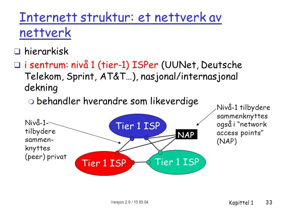 Versjon 2.0 / 15.09.04 Kapittel 1 33 Internett struktur: et nettverk av nettverk  hierarkisk  i sentrum: nivå 1 (tier-1) ISPer (UUNet, Deutsche Telekom, Sprint, AT&T…), nasjonal/internasjonal dekning m behandler hverandre som likeverdige Tier 1 ISP Nivå-1- tilbydere sammen- knyttes (peer) privat NAP Nivå-1 tilbydere sammenknyttes også i network access points (NAP)