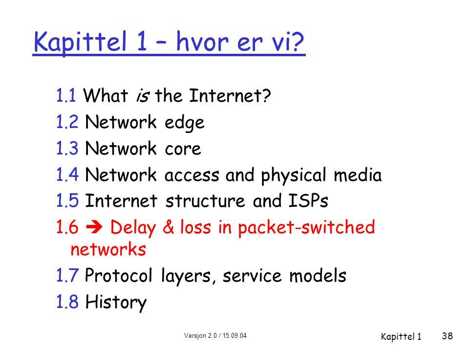 Versjon 2.0 / 15.09.04 Kapittel 1 38 Kapittel 1 – hvor er vi? 1.1 What is the Internet? 1.2 Network edge 1.3 Network core 1.4 Network access and physi