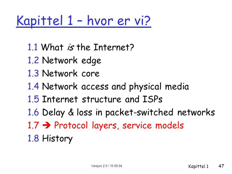 Versjon 2.0 / 15.09.04 Kapittel 1 47 Kapittel 1 – hvor er vi? 1.1 What is the Internet? 1.2 Network edge 1.3 Network core 1.4 Network access and physi
