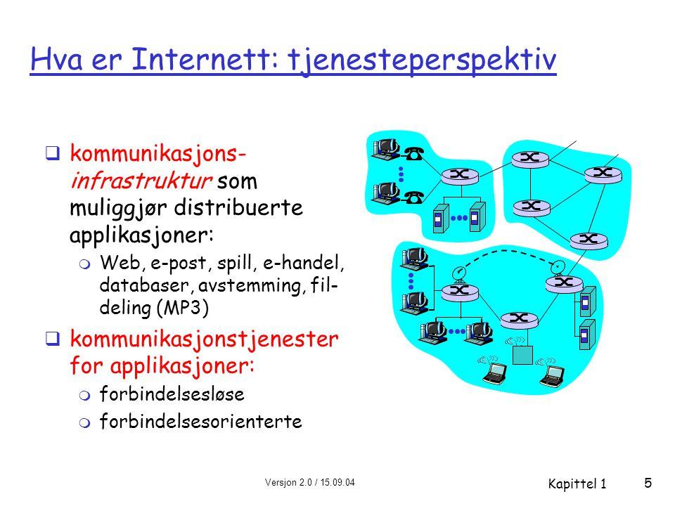 Versjon 2.0 / 15.09.04 Kapittel 1 5 Hva er Internett: tjenesteperspektiv  kommunikasjons- infrastruktur som muliggjør distribuerte applikasjoner: m W