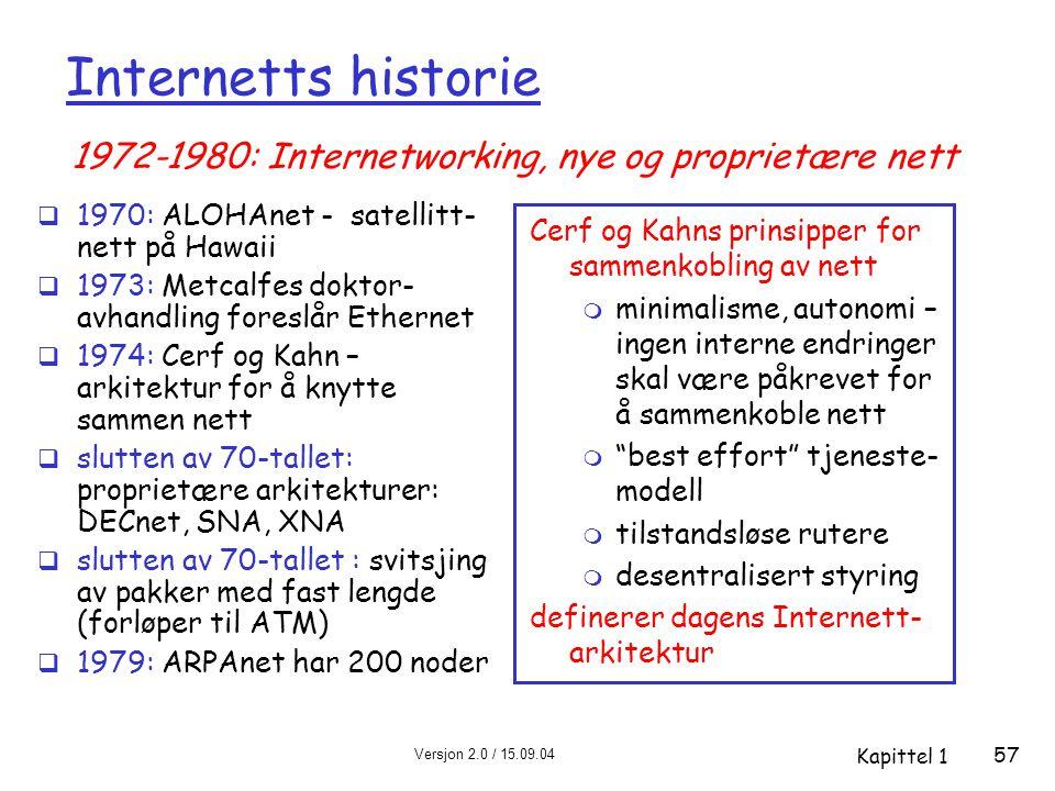 Versjon 2.0 / 15.09.04 Kapittel 1 57 Internetts historie  1970: ALOHAnet - satellitt- nett på Hawaii  1973: Metcalfes doktor- avhandling foreslår Ethernet  1974: Cerf og Kahn – arkitektur for å knytte sammen nett  slutten av 70-tallet: proprietære arkitekturer: DECnet, SNA, XNA  slutten av 70-tallet : svitsjing av pakker med fast lengde (forløper til ATM)  1979: ARPAnet har 200 noder Cerf og Kahns prinsipper for sammenkobling av nett m minimalisme, autonomi – ingen interne endringer skal være påkrevet for å sammenkoble nett m best effort tjeneste- modell m tilstandsløse rutere m desentralisert styring definerer dagens Internett- arkitektur 1972-1980: Internetworking, nye og proprietære nett