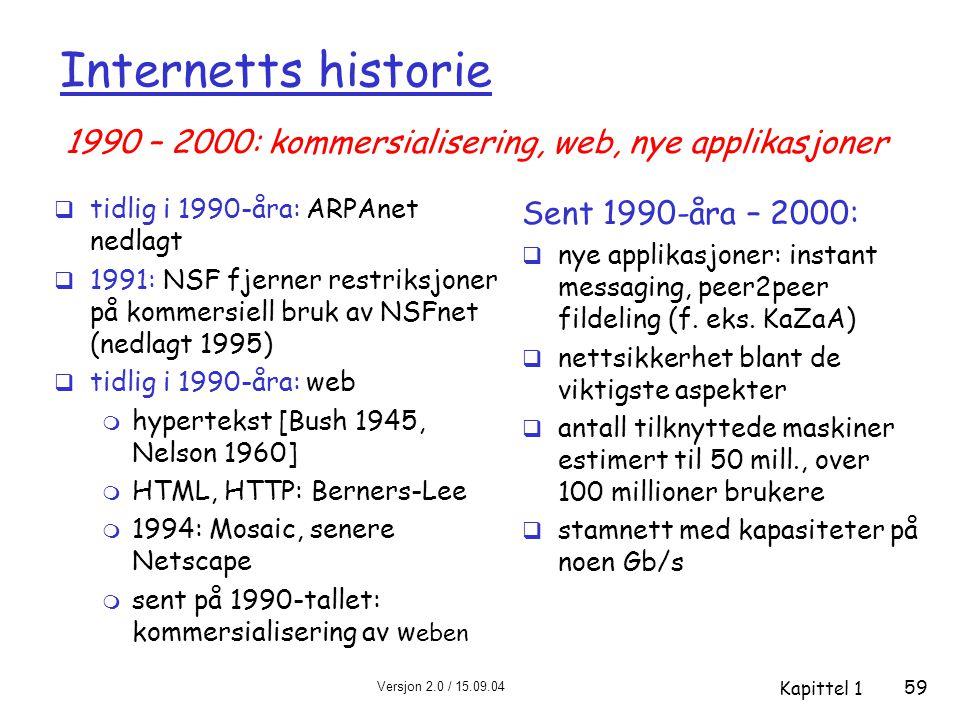 Versjon 2.0 / 15.09.04 Kapittel 1 59 Internetts historie  tidlig i 1990-åra: ARPAnet nedlagt  1991: NSF fjerner restriksjoner på kommersiell bruk av NSFnet (nedlagt 1995)  tidlig i 1990-åra: web m hypertekst [Bush 1945, Nelson 1960] m HTML, HTTP: Berners-Lee m 1994: Mosaic, senere Netscape m sent på 1990-tallet: kommersialisering av w eben Sent 1990-åra – 2000:  nye applikasjoner: instant messaging, peer2peer fildeling (f.