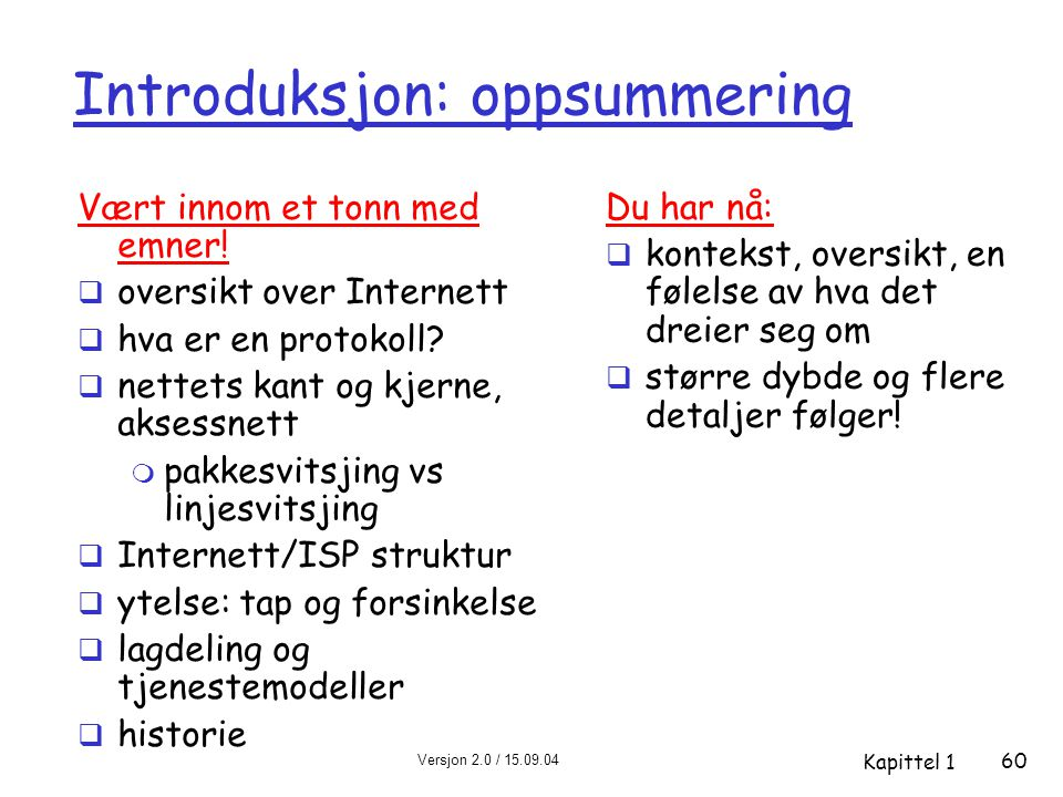 Versjon 2.0 / 15.09.04 Kapittel 1 60 Introduksjon: oppsummering Vært innom et tonn med emner.
