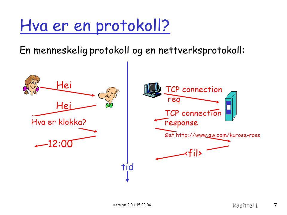 Versjon 2.0 / 15.09.04 Kapittel 1 48 Internett-protokollstack  applikasjon (application): støtte for nettverksapplikasjoner m FTP, SMTP, HTTP  transport: program til program dataoverføring m TCP, UDP  nettverk (network): ruting av datagram (pakker) fra avsender til mottaker m IP, rutingprotokoller  link: dataoverføring mellom nettelementer (maskiner) på samme nett m PPP, Ethernet  fysisk: bit på tråden applikasjon transport nettverk link fysisk