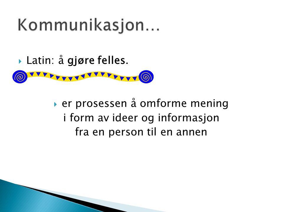  Latin: å gjøre felles.  er prosessen å omforme mening i form av ideer og informasjon fra en person til en annen