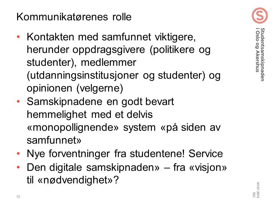 Kommunikatørenes rolle •Kontakten med samfunnet viktigere, herunder oppdragsgivere (politikere og studenter), medlemmer (utdanningsinstitusjoner og st