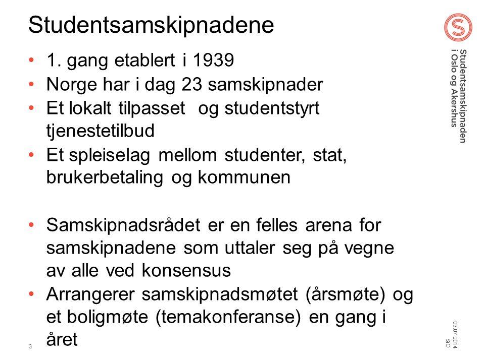 Studentsamskipnadene •1. gang etablert i 1939 •Norge har i dag 23 samskipnader •Et lokalt tilpasset og studentstyrt tjenestetilbud •Et spleiselag mell
