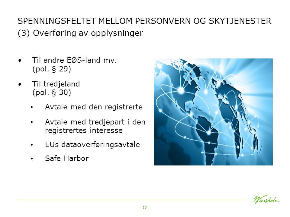 10 SPENNINGSFELTET MELLOM PERSONVERN OG SKYTJENESTER (3) Overføring av opplysninger •Til andre EØS-land mv. (pol. § 29) •Til tredjeland (pol. § 30) •
