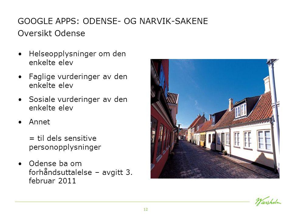 12 GOOGLE APPS: ODENSE- OG NARVIK-SAKENE Oversikt Odense •Helseopplysninger om den enkelte elev •Faglige vurderinger av den enkelte elev •Sosiale vurd