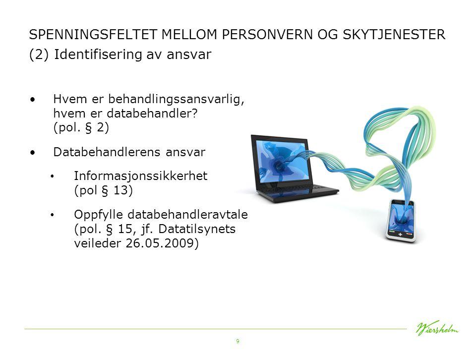 9 SPENNINGSFELTET MELLOM PERSONVERN OG SKYTJENESTER (2) Identifisering av ansvar •Hvem er behandlingssansvarlig, hvem er databehandler? (pol. § 2) •Da
