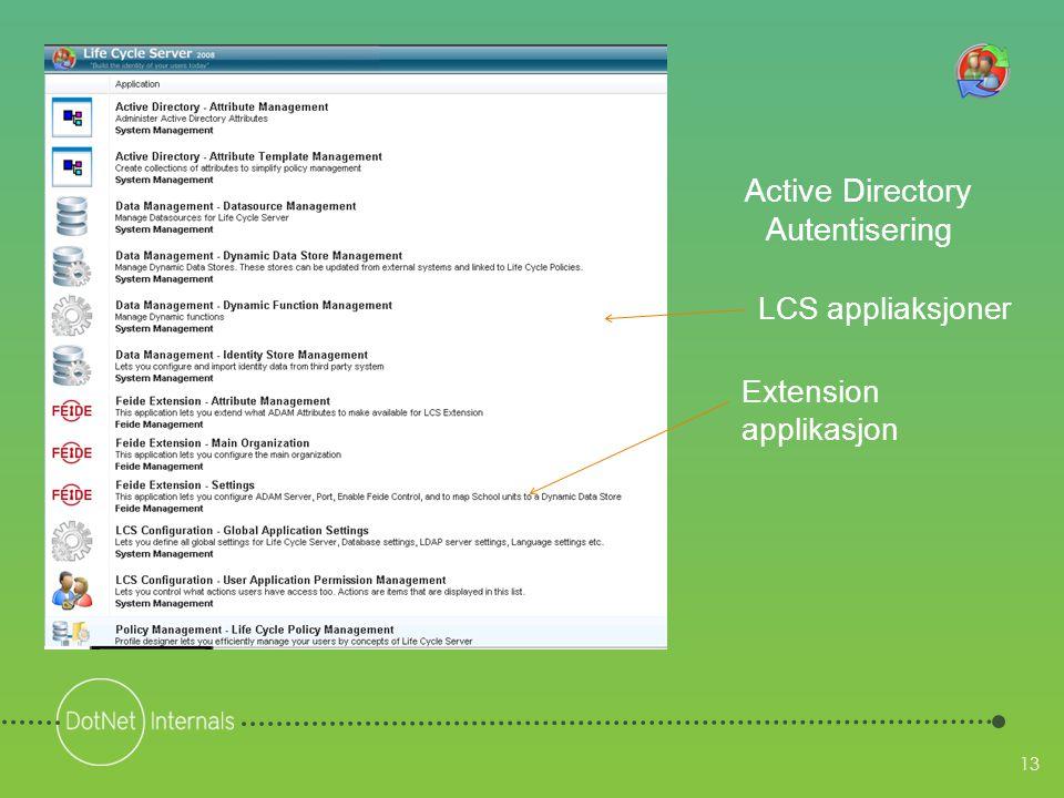 13 Active Directory Autentisering Extension applikasjon LCS appliaksjoner