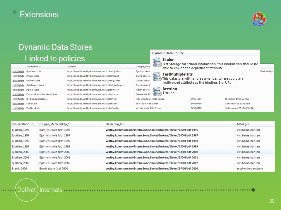 20 Dynamic Data Stores Linked to policies • Extensions