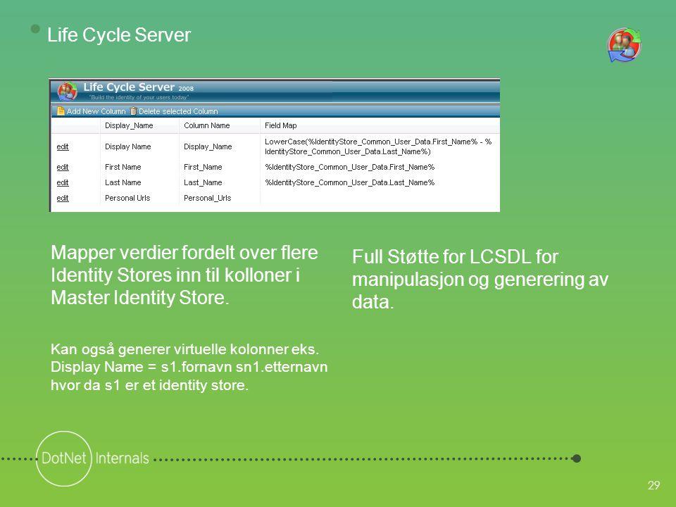 29 Full Støtte for LCSDL for manipulasjon og generering av data.