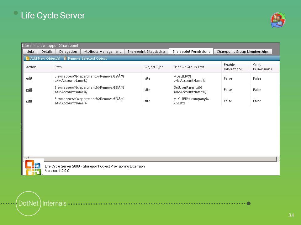34 • Life Cycle Server