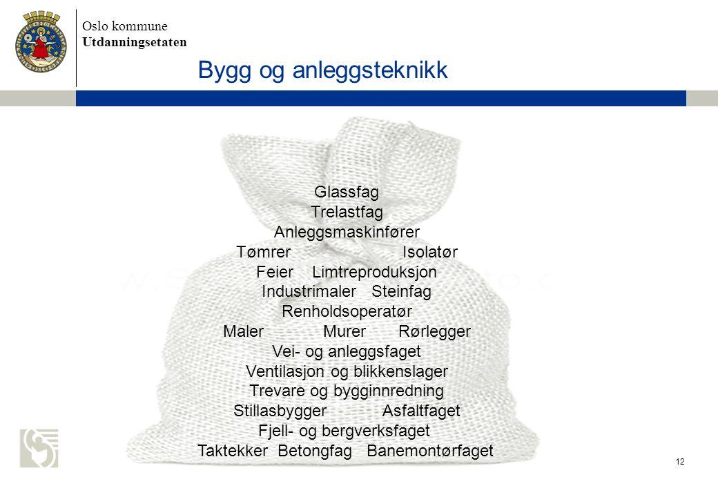 Oslo kommune Utdanningsetaten 12 Bygg og anleggsteknikk Glassfag Trelastfag Anleggsmaskinfører Tømrer Isolatør Feier Limtreproduksjon Industrimaler St