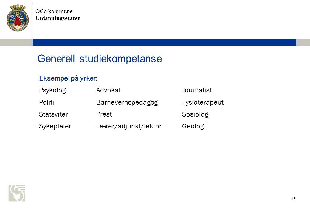 Oslo kommune Utdanningsetaten Generell studiekompetanse Eksempel på yrker: PsykologAdvokatJournalist PolitiBarnevernspedagogFysioterapeut StatsviterPr