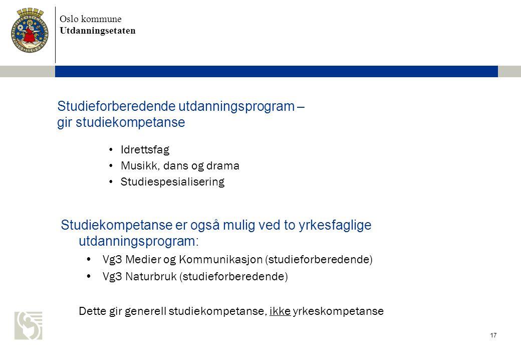 Oslo kommune Utdanningsetaten 17 Studieforberedende utdanningsprogram – gir studiekompetanse • Idrettsfag • Musikk, dans og drama • Studiespesialiseri