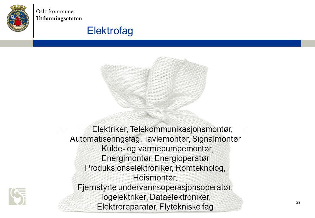 Oslo kommune Utdanningsetaten 23 Elektriker, Telekommunikasjonsmontør, Automatiseringsfag, Tavlemontør, Signalmontør Kulde- og varmepumpemontør, Energ