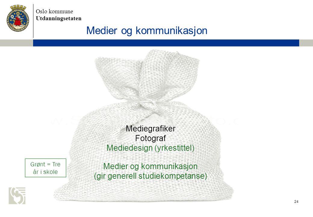 Oslo kommune Utdanningsetaten Medier og kommunikasjon 24 Grønt = Tre år i skole Mediegrafiker Fotograf Mediedesign (yrkestittel) Medier og kommunikasj