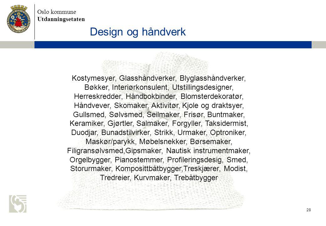 Oslo kommune Utdanningsetaten 28 Design og håndverk Kostymesyer, Glasshåndverker, Blyglasshåndverker, Bøkker, Interiørkonsulent, Utstillingsdesigner,