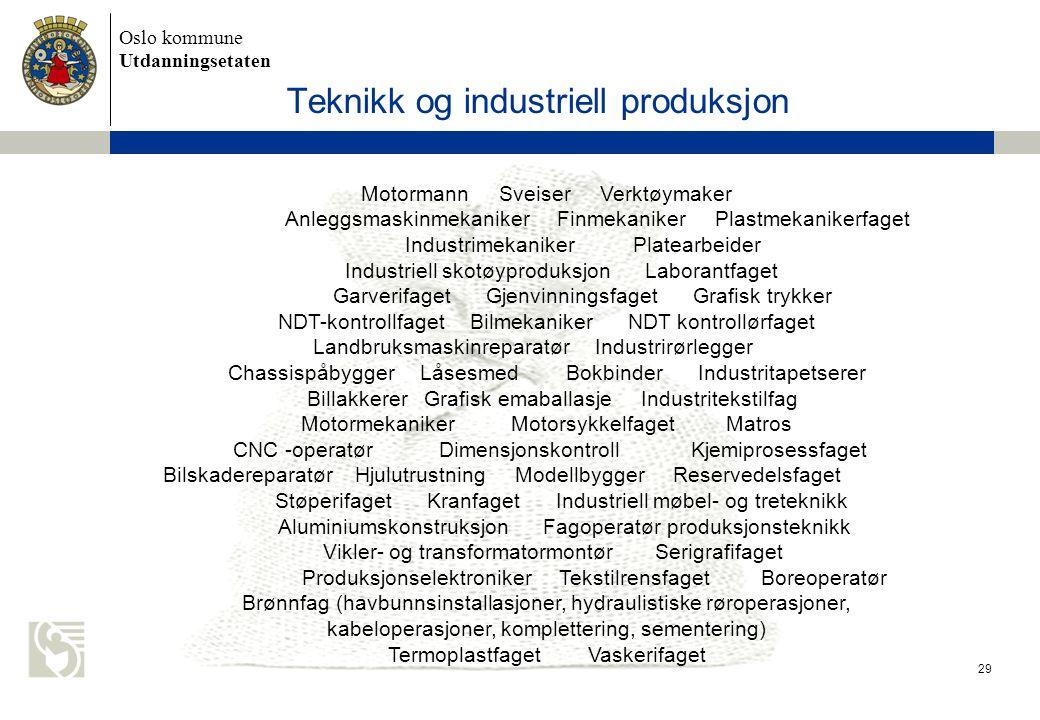 Oslo kommune Utdanningsetaten 29 Teknikk og industriell produksjon Motormann Sveiser Verktøymaker Anleggsmaskinmekaniker Finmekaniker Plastmekanikerfa