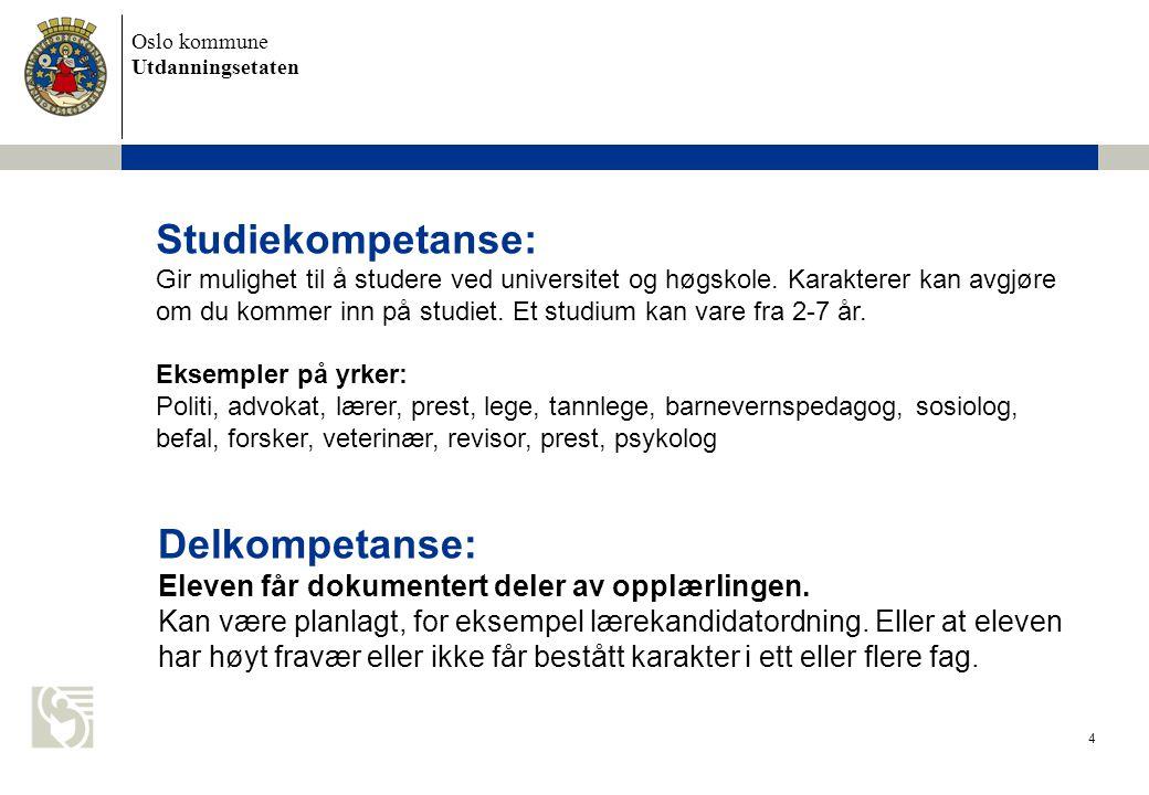 Oslo kommune Utdanningsetaten 4 Studiekompetanse: Gir mulighet til å studere ved universitet og høgskole. Karakterer kan avgjøre om du kommer inn på s