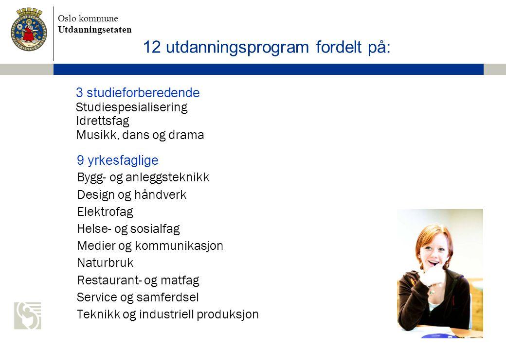 Oslo kommune Utdanningsetaten 8 12 utdanningsprogram fordelt på: 3 studieforberedende Studiespesialisering Idrettsfag Musikk, dans og drama 9 yrkesfag