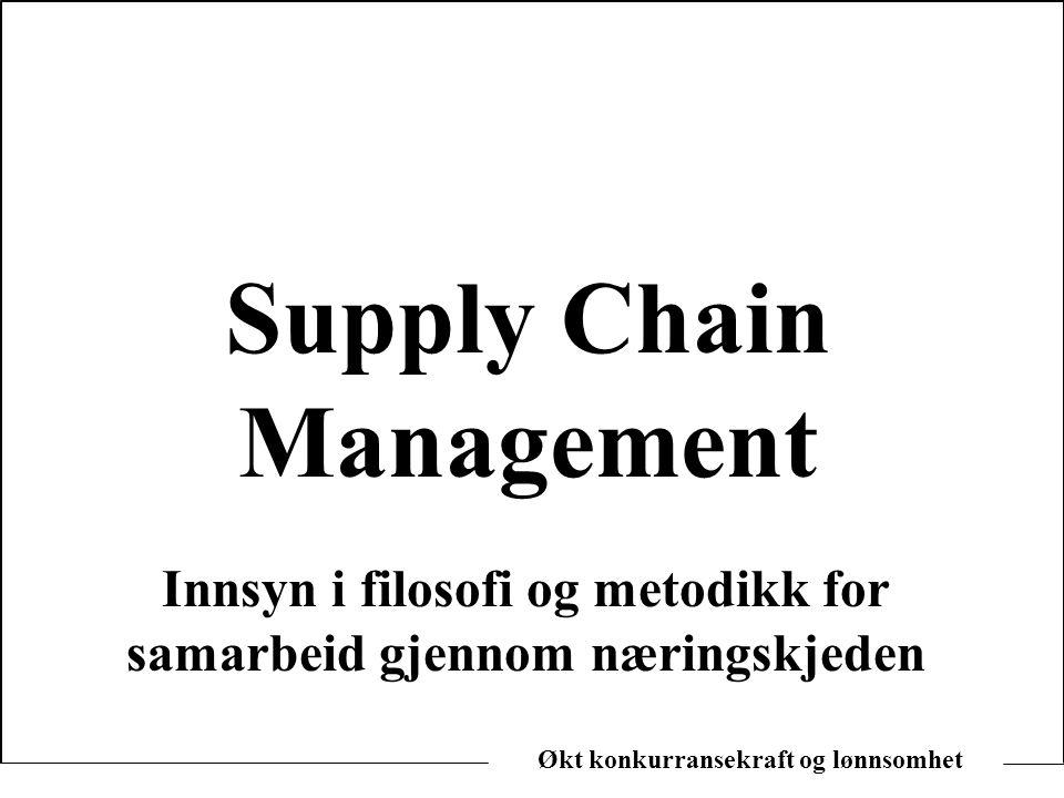 Økt konkurransekraft og lønnsomhet Supply Chain Management Innsyn i filosofi og metodikk for samarbeid gjennom næringskjeden