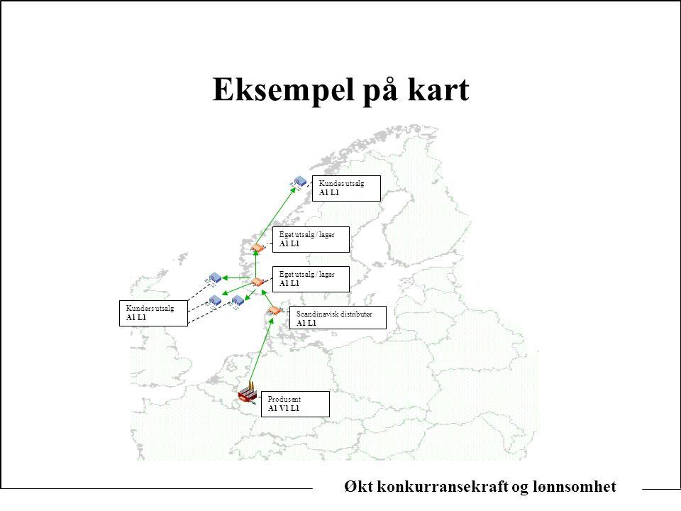 Økt konkurransekraft og lønnsomhet Eksempel på kart Produsent A1 V1 L1 Kunders utsalg A1 L1 Scandinavisk distributør A1 L1 Eget utsalg / lager A1 L1 E