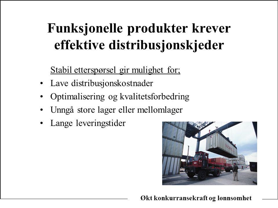 Økt konkurransekraft og lønnsomhet Funksjonelle produkter krever effektive distribusjonskjeder Stabil etterspørsel gir mulighet for; •Lave distribusjo