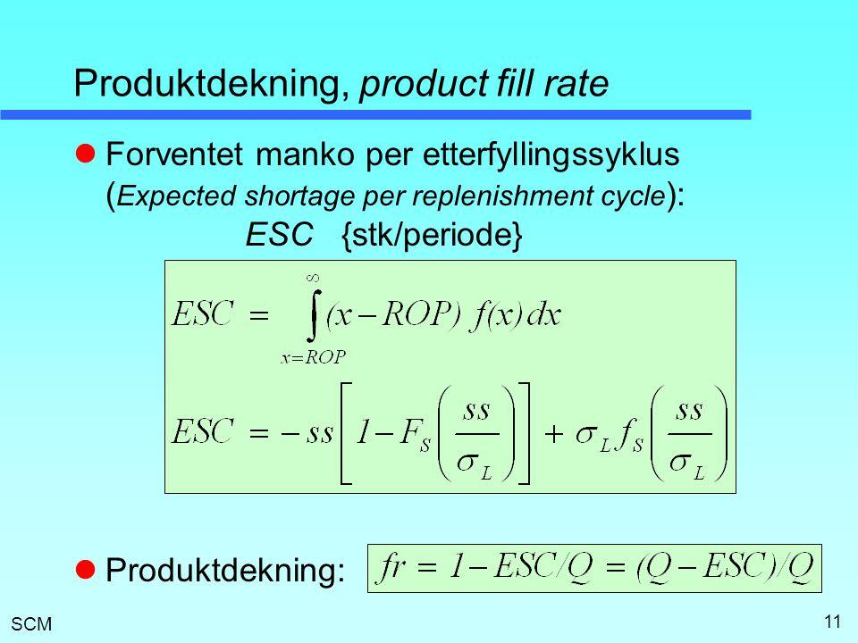 SCM 11 Produktdekning, product fill rate  Forventet manko per etterfyllingssyklus ( Expected shortage per replenishment cycle ): ESC {stk/periode} 