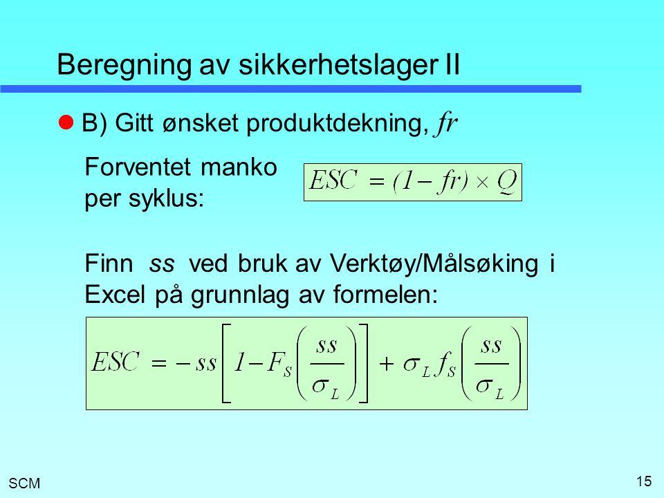 SCM 15 Beregning av sikkerhetslager II  B) Gitt ønsket produktdekning, fr Forventet manko per syklus: Finn ss ved bruk av Verktøy/Målsøking i Excel p