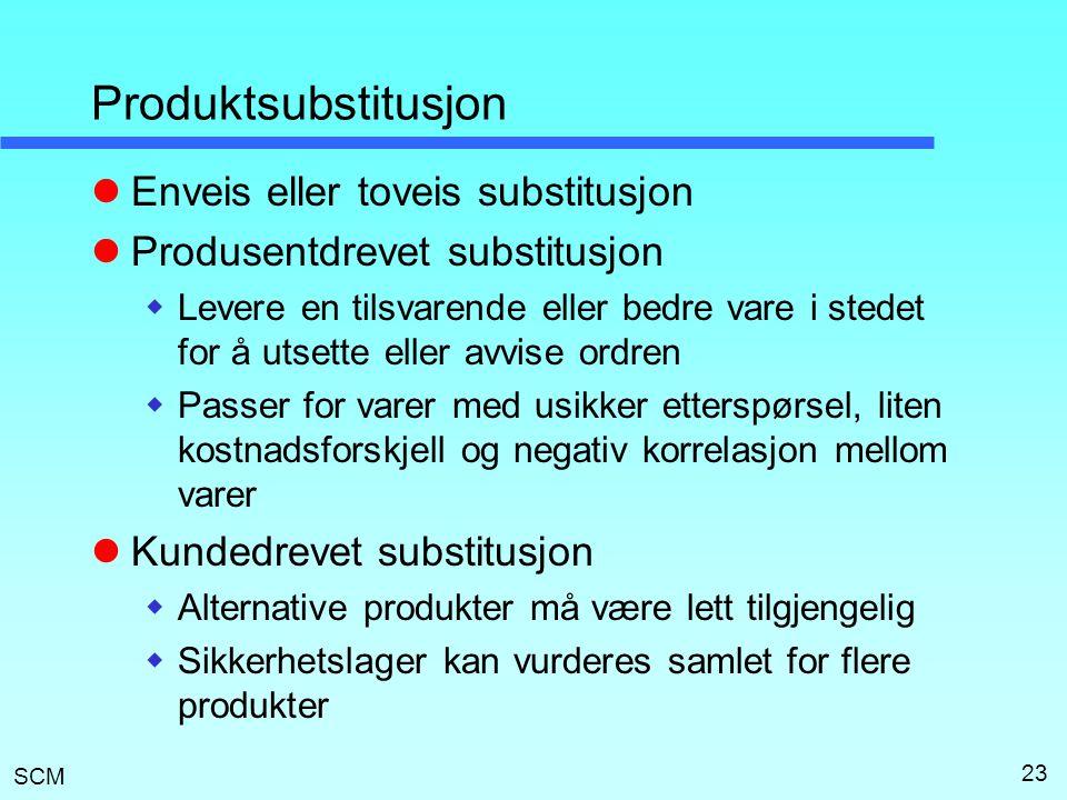 SCM 23 Produktsubstitusjon  Enveis eller toveis substitusjon  Produsentdrevet substitusjon  Levere en tilsvarende eller bedre vare i stedet for å u