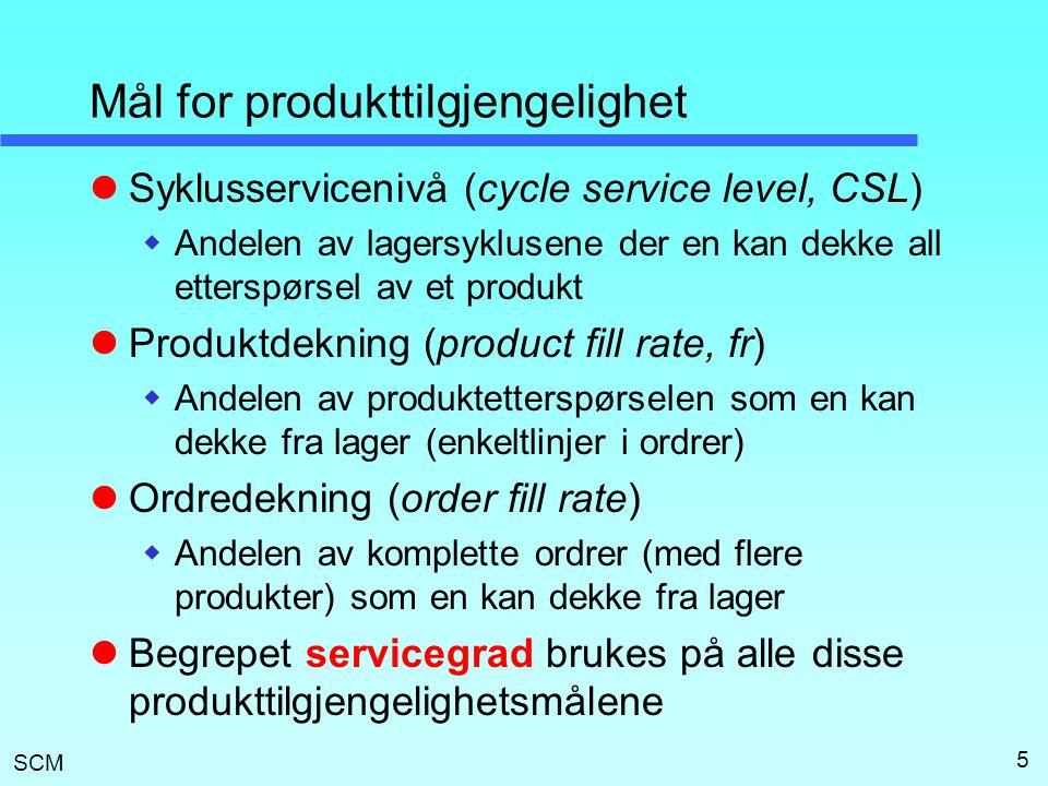 SCM 5 Mål for produkttilgjengelighet  Syklusservicenivå (cycle service level, CSL)  Andelen av lagersyklusene der en kan dekke all etterspørsel av e