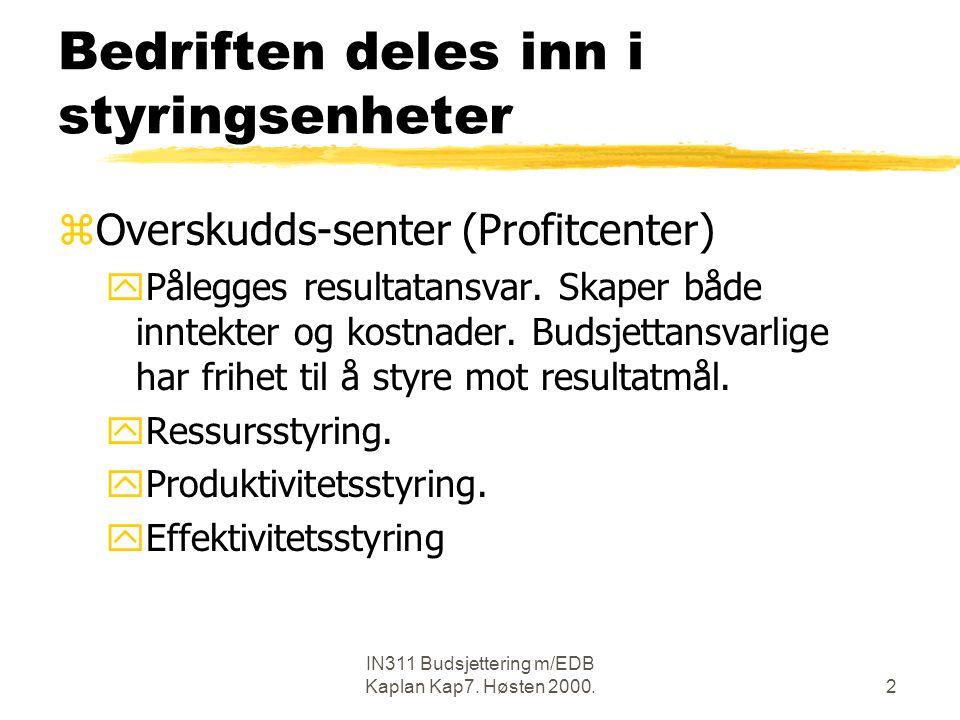 IN311 Budsjettering m/EDB Kaplan Kap7.