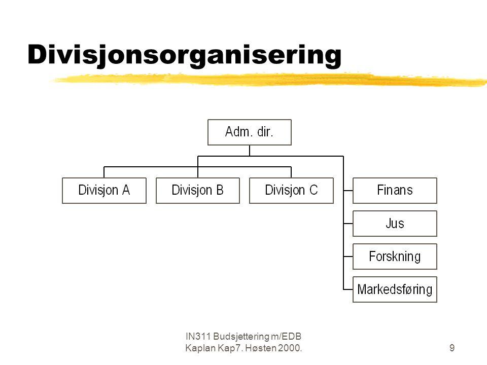 IN311 Budsjettering m/EDB Kaplan Kap7. Høsten 2000.9 Divisjonsorganisering