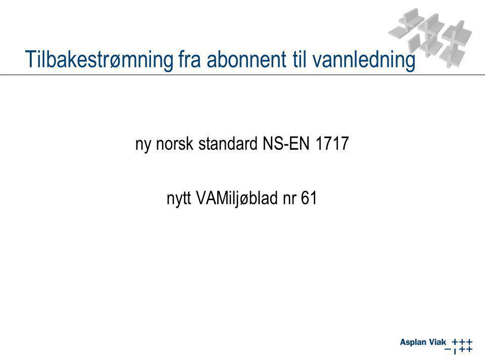 Tilbakestrømning fra abonnent til vannledning ny norsk standard NS-EN 1717 nytt VAMiljøblad nr 61