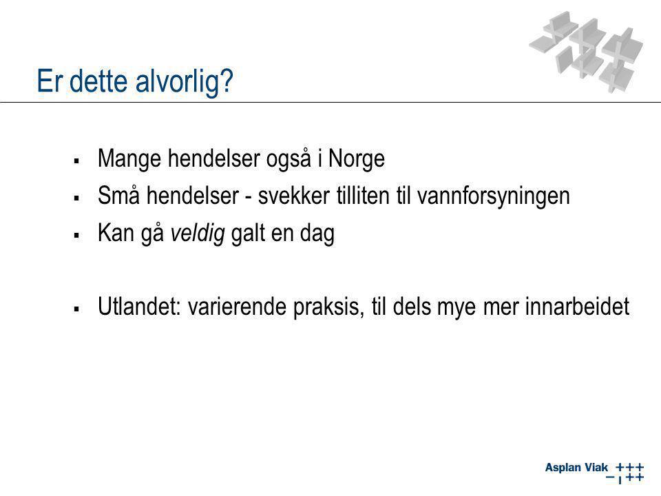 Er dette alvorlig?  Mange hendelser også i Norge  Små hendelser - svekker tilliten til vannforsyningen  Kan gå veldig galt en dag  Utlandet: varie