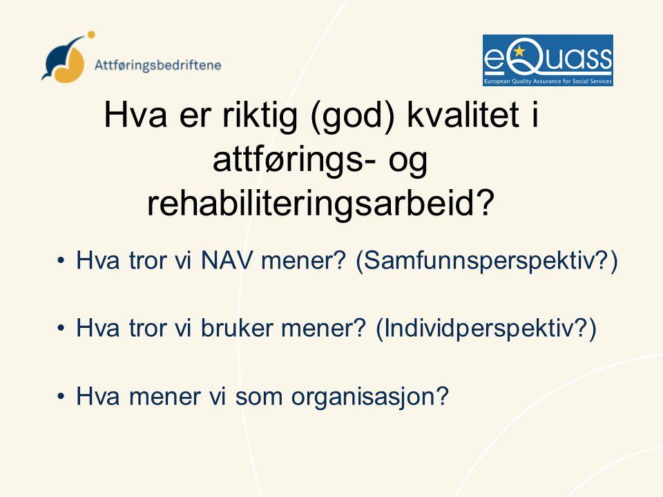 Hva er riktig (god) kvalitet i attførings- og rehabiliteringsarbeid? •Hva tror vi NAV mener? (Samfunnsperspektiv?) •Hva tror vi bruker mener? (Individ